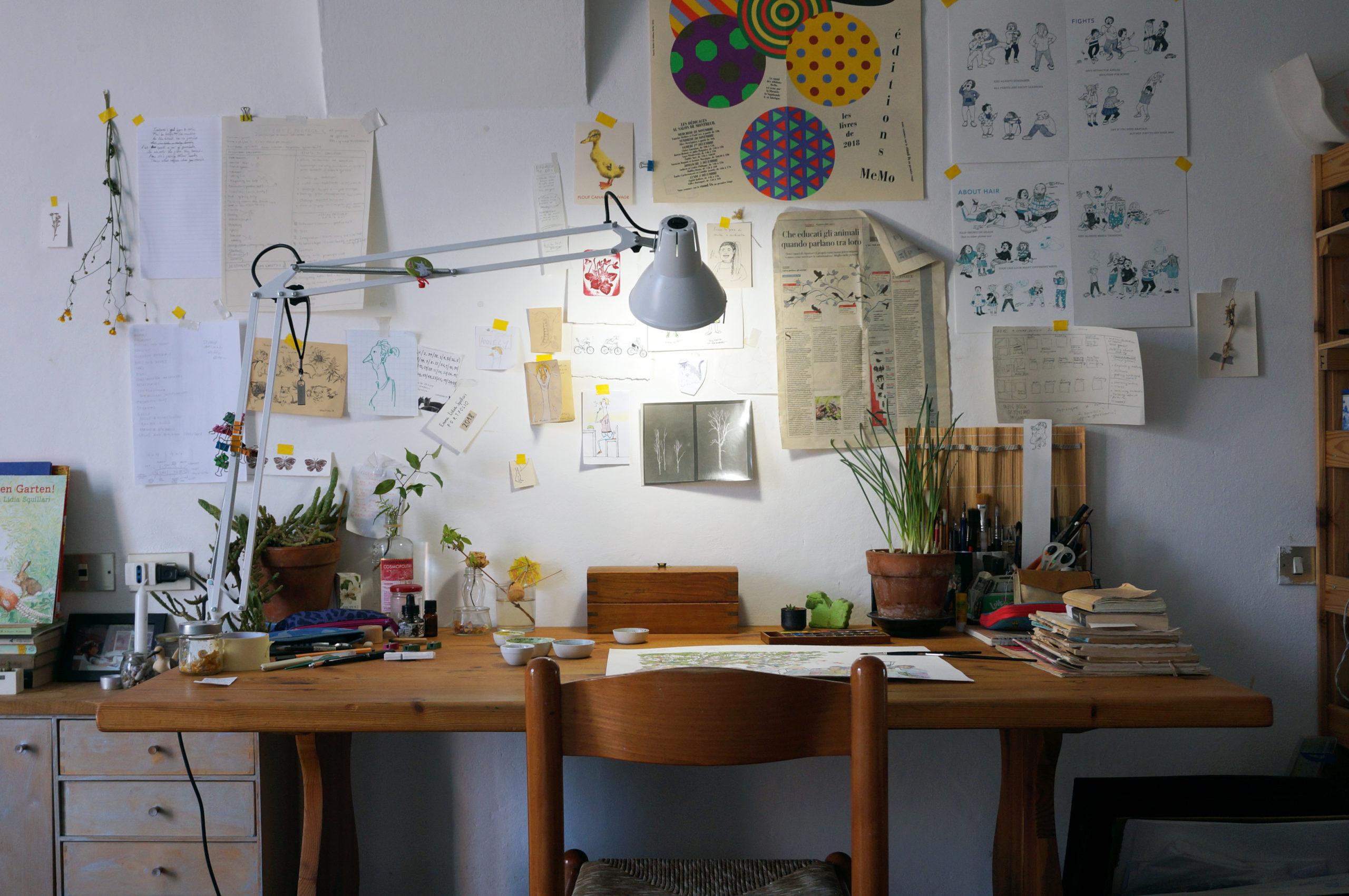 Ein Arbeitstisch in Bologna